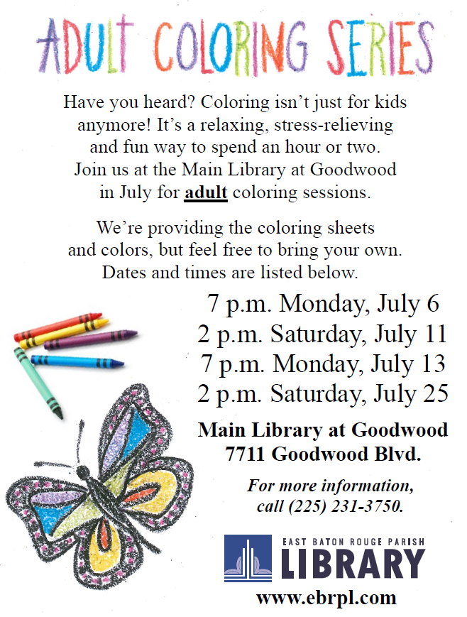 Adult Coloring East Baton Rouge Parish Library InfoBlog