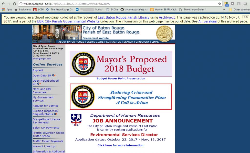 The www.brgov.com/ website captured November 7, 2017