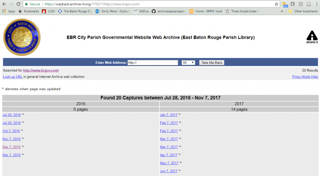 Shows the various dates the website was crawled.